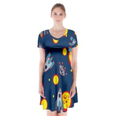Rocket Ufo Moon Star Space Planet Blue Circle Short Sleeve V Neck Flare Dress by Mariart