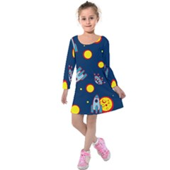 Rocket Ufo Moon Star Space Planet Blue Circle Kids  Long Sleeve Velvet Dress by Mariart