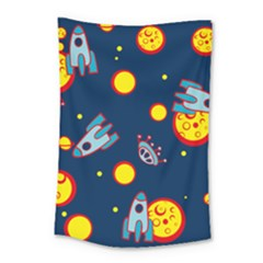Rocket Ufo Moon Star Space Planet Blue Circle Small Tapestry by Mariart