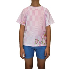 Sakura Flower Floral Pink Star Plaid Wave Chevron Kids  Short Sleeve Swimwear by Mariart