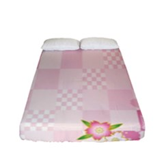 Sakura Flower Floral Pink Star Plaid Wave Chevron Fitted Sheet (full/ Double Size) by Mariart