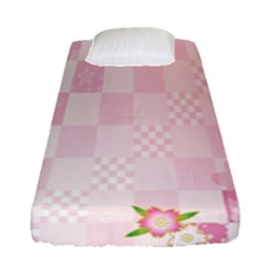Sakura Flower Floral Pink Star Plaid Wave Chevron Fitted Sheet (single Size) by Mariart