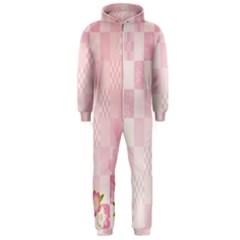Sakura Flower Floral Pink Star Plaid Wave Chevron Hooded Jumpsuit (men)  by Mariart