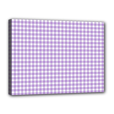 Plaid Purple White Line Canvas 16  X 12