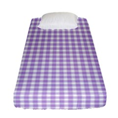 Plaid Purple White Line Fitted Sheet (single Size)