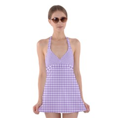 Plaid Purple White Line Halter Swimsuit Dress by Mariart