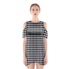 Plaid Black White Line Shoulder Cutout One Piece