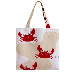 Sand Animals Red Crab Zipper Grocery Tote Bag by Mariart