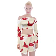 Sand Animals Red Crab Off Shoulder Top With Skirt Set by Mariart