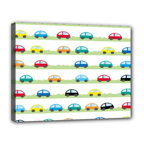 Small Car Red Yellow Blue Orange Black Kids Canvas 14  X 11  by Mariart