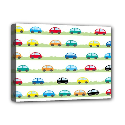 Small Car Red Yellow Blue Orange Black Kids Deluxe Canvas 16  X 12