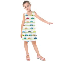 Small Car Red Yellow Blue Orange Black Kids Kids  Sleeveless Dress by Mariart