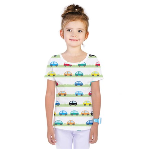 Small Car Red Yellow Blue Orange Black Kids Kids  One Piece Tee by Mariart