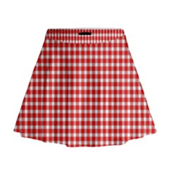 Plaid Red White Line Mini Flare Skirt by Mariart