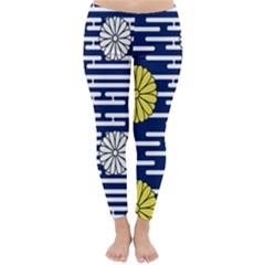 Sunflower Line Blue Yellpw Classic Winter Leggings by Mariart