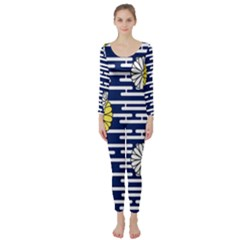 Sunflower Line Blue Yellpw Long Sleeve Catsuit by Mariart