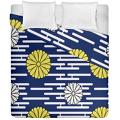 Sunflower Line Blue Yellpw Duvet Cover Double Side (california King Size) by Mariart