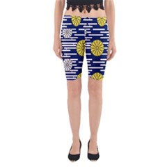 Sunflower Line Blue Yellpw Yoga Cropped Leggings by Mariart
