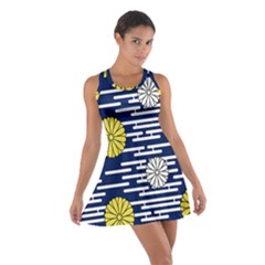 Sunflower Line Blue Yellpw Cotton Racerback Dress by Mariart