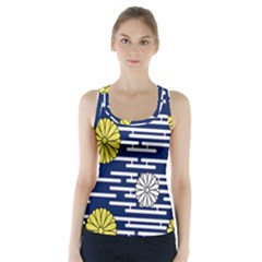 Sunflower Line Blue Yellpw Racer Back Sports Top by Mariart