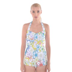 Star Flower Rainbow Sunflower Sakura Boyleg Halter Swimsuit  by Mariart