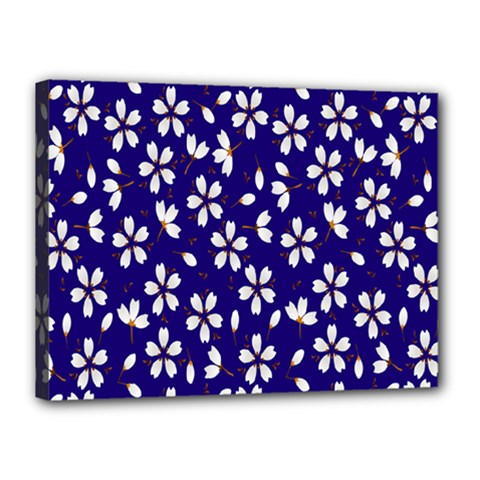 Star Flower Blue White Canvas 16  X 12
