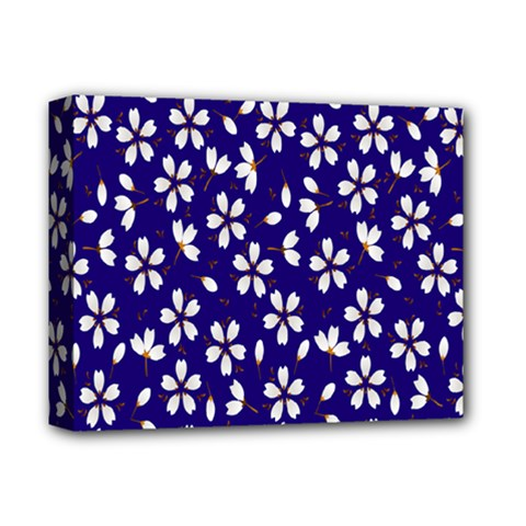 Star Flower Blue White Deluxe Canvas 14  X 11  by Mariart