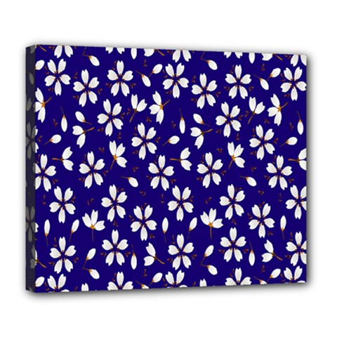 Star Flower Blue White Deluxe Canvas 24  X 20   by Mariart