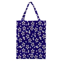 Star Flower Blue White Classic Tote Bag by Mariart
