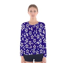 Star Flower Blue White Women s Long Sleeve Tee