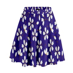 Star Flower Blue White High Waist Skirt by Mariart