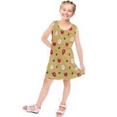 Tulip Sunflower Sakura Flower Floral Red White Leaf Green Kids  Tunic Dress by Mariart