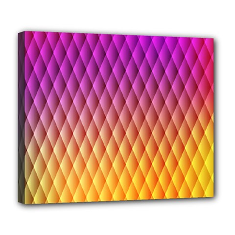 Triangle Plaid Chevron Wave Pink Purple Yellow Rainbow Deluxe Canvas 24  X 20   by Mariart