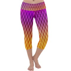 Triangle Plaid Chevron Wave Pink Purple Yellow Rainbow Capri Yoga Leggings