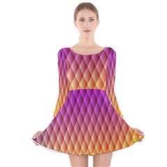Triangle Plaid Chevron Wave Pink Purple Yellow Rainbow Long Sleeve Velvet Skater Dress by Mariart