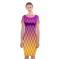 Triangle Plaid Chevron Wave Pink Purple Yellow Rainbow Classic Short Sleeve Midi Dress by Mariart