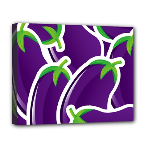 Vegetable Eggplant Purple Green Deluxe Canvas 20  X 16   by Mariart