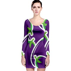 Vegetable Eggplant Purple Green Long Sleeve Bodycon Dress by Mariart