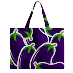 Vegetable Eggplant Purple Green Zipper Mini Tote Bag by Mariart