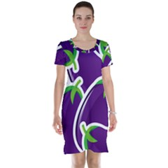 Vegetable Eggplant Purple Green Short Sleeve Nightdress by Mariart
