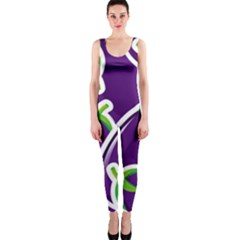 Vegetable Eggplant Purple Green Onepiece Catsuit by Mariart