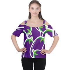 Vegetable Eggplant Purple Green Women s Cutout Shoulder Tee by Mariart