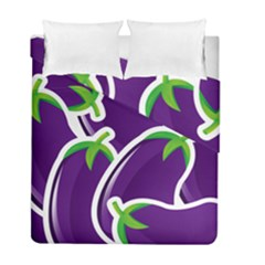 Vegetable Eggplant Purple Green Duvet Cover Double Side (full/ Double Size) by Mariart