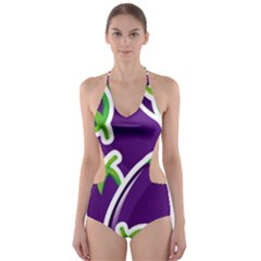 Vegetable Eggplant Purple Green Cut Out One Piece Swimsuit by Mariart