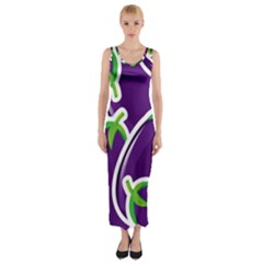 Vegetable Eggplant Purple Green Fitted Maxi Dress