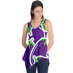 Vegetable Eggplant Purple Green Sleeveless Tunic by Mariart