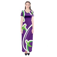 Vegetable Eggplant Purple Green Short Sleeve Maxi Dress by Mariart
