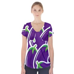 Vegetable Eggplant Purple Green Short Sleeve Front Detail Top by Mariart