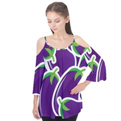 Vegetable Eggplant Purple Green Flutter Tees by Mariart