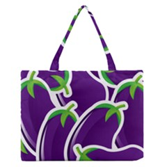 Vegetable Eggplant Purple Green Medium Zipper Tote Bag by Mariart